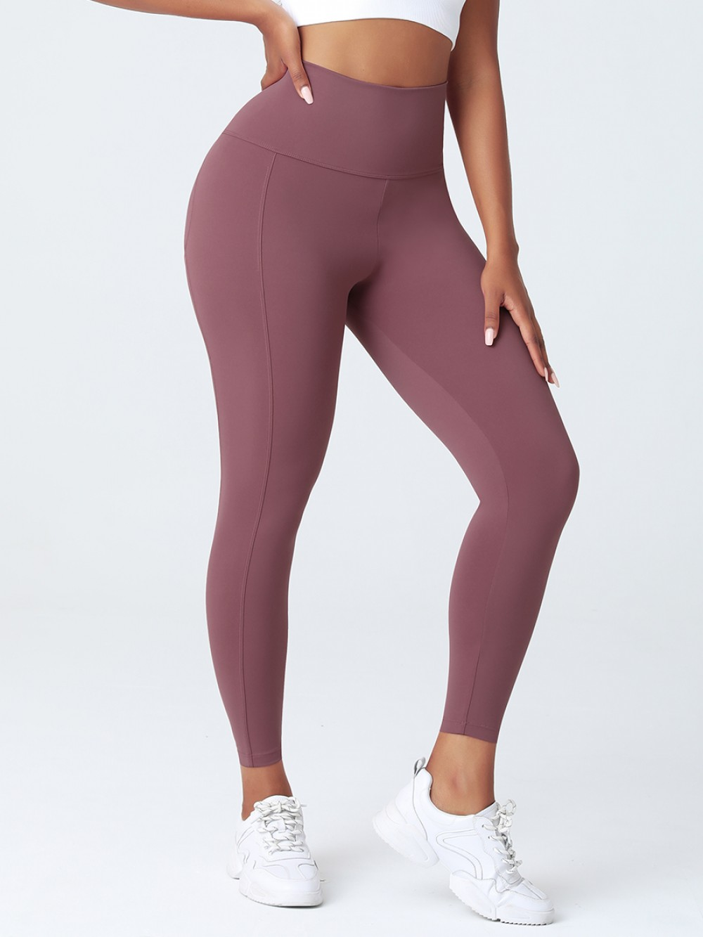 Jujube Red High Rise Contouring Stitch Lines Sports Pant Form Fit