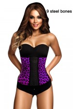 9 Steel Bones Purple Waist Trimming Leopard Waist Cincher
