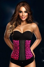 4 Steel Boned Pink Rosy Leopard Latex Waist Trainer Corset