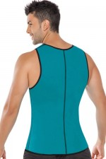 Blue Men Neoprene Vest Body Shaper Full Back Sleeveless