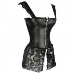 Black Faux Leather Sexy Gothic Zipper Steampunk Overbust Corset Lace Bustier Top