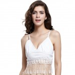 Flattering White Bra Top With Fringe for Dance