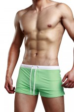 Adjustable Waist Back Pocket Green Male Underwear Briefs