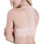 Chic Push Up Light Pink Wide Straps Flower Lace Sporty Bra