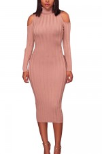 Pink Open Shoulder Knitting Bodycon Dress Full Sleeves