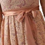 Grqaceful Light Brown Satin Self Tie Front Flowy Dress Allover Crochet