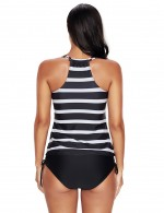 2 Pieces Plus Size White Striped Printing Tankini Wireless