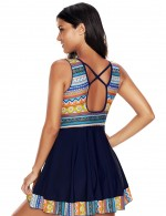 Chic Mix Color Big Flare Hemline Swimsuit Wireless Padding
