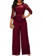 Elegant Wine Red Lace Patchwork Top Jumpsuit With Wide Pants