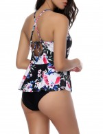 Trendy One Piece Rose Red Flower Print Swimsuit Crossover Straps Back