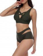 Solid Blackish Green 2 Piece Cross Back Beach Wears Adjustable Straps