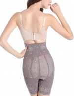 Plus Size Light Grey High Rise Butt Lifter Zipper Pants