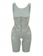 Light Green Zipper Front Closure Bust Lifter Bodysuit Postpartum Recovery
