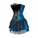 Blue Ruffled Hemline Feather Trim Dress Overbust Corset