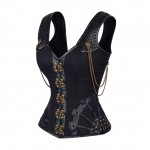 Brass Clasps Black 12 Steel Boned Steampunk Corset Chains