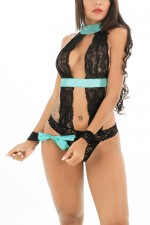 Graceful Halter Green Sash Lace Black Lingerie Teddy Handcuffs