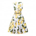 Fabulous Hepburn Style Sleeveless Yellow Lemon Dress