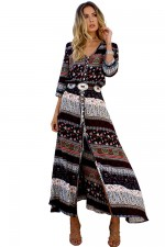 Exotic Front Slit Tribal Print Three Quarter Sleeve Dress