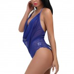 Dazzling Blue Draping Neckline Teddy High Leg
