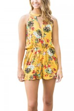 Short Allover Floral Print Jumpsuit Ruching Waist Yellow