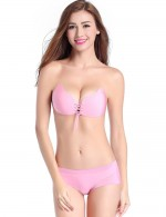 Cozy Pink Push Up Bra No Straps Butterfly-Shaped
