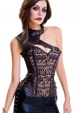 Stunning Leather Metal Buckle Corset Overbust Lace-Up