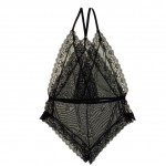 Cheeky Black High Cut Sides Teddy Mesh Lace Design