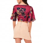 Classical Wine Red Crop Top Front Tie Flower Printing Chic Online