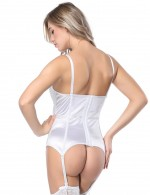 Ultimate Stretch White Lace Stitching Bustier Bowknot Decor