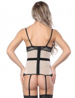 Authentic Lace Hemline Apricot Splicing Corset Overbust Top