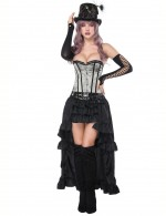 Beautiful Grey Mental Hole Overbust Corset With Layered Skirt