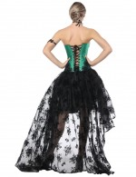 Romantic Tie Back Lace Green Two Piece Bustier Skirt Asymmetric