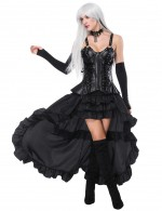 Stylish Black Thick Straps Mental Hole Corset And Layered Skirt