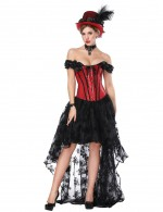 Slinky Ruffled Red Off Shoulder Bustier Dress Set Bowknot
