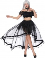 Cellulite Reducing Black Crop Top Asymmetric Mesh Skirt Set Off The Shoulder