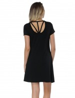 Dainty Black Short Hollow Out Mini Dress Bamboo Fiber For Upscale