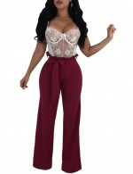 Bandage Wine Red Wide Leg Trousers High Rise Unique Fashion
