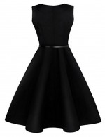 Inviting Bateau Neck Swing Dress High Waist Zipper Back