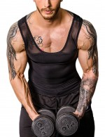 Perfect-Fit Black Crossover Slimming Male Tank Top Pull Back Best Material