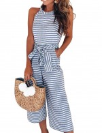 Blue Sleeveless Stripe Flattering Romper Round Collar For Couple