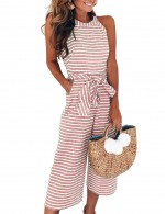 Flattering Red Jumpsuit Striped Wide Leg Tie Waist Fashion Online