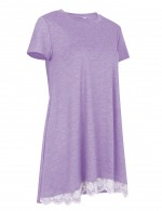 Loose Top Purple Round Collar Short Sleeve Cheap Online Sale