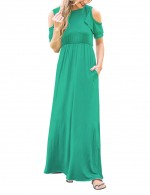 Lake Green Short Sleeves Sheerly Dress Floor Length Woman