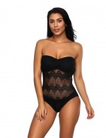 Black Back Hollow Out Beachwear Lace Stitching Holiday Fashion