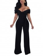Gorgeous Black Off Shoulder Jumpsuits Wide Legs Waist Tie