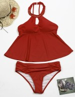 Perfectly Keyhole Plus Front Rivet Tankini High Neck Online Sale