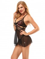 Garnet Black Hollow Out Babydoll Set Patchwork Smoothing Fabric