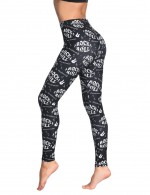 Black Brushed Middle Waist Tights Alphabet Print Female Fashion