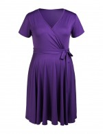Cheeky Purple Wrap Plus Skater Dress Seft Tie Breathable