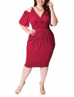 Captivating Red Ruched Plus Size Dress Midi Length Nice Quality